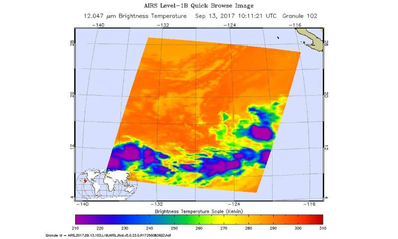 Tropical Depression 15E appears almost shapeless on NASA satellite imagery