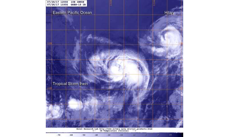 Tropical Storm Irwin's eastern side builds on satellite imagery