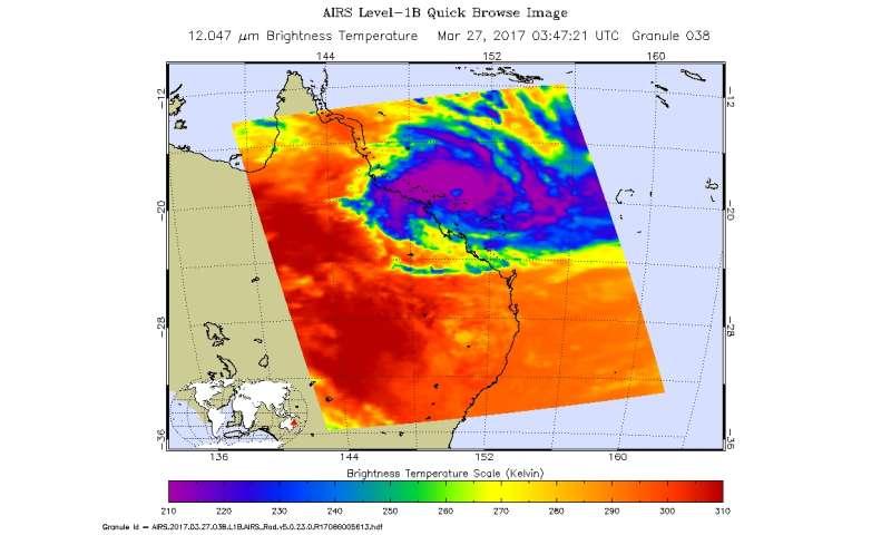 NASA sees Tropical Cyclone Debbie make landfall in Queensland