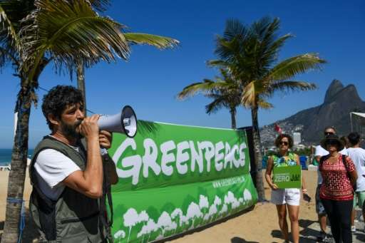 Environmental activist group Greenpeace protests commercial mining in the Amazon on August 17, 2017, two days after Brazilian Pr