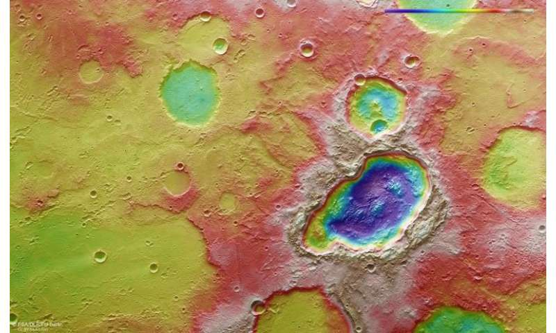 Craters suggest impacting body that may have broken into three before it hit Mars