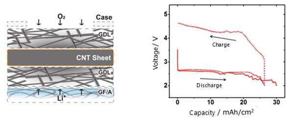 Development of ultra-high capacity lithium-air batteries using CNT sheet air electrodes