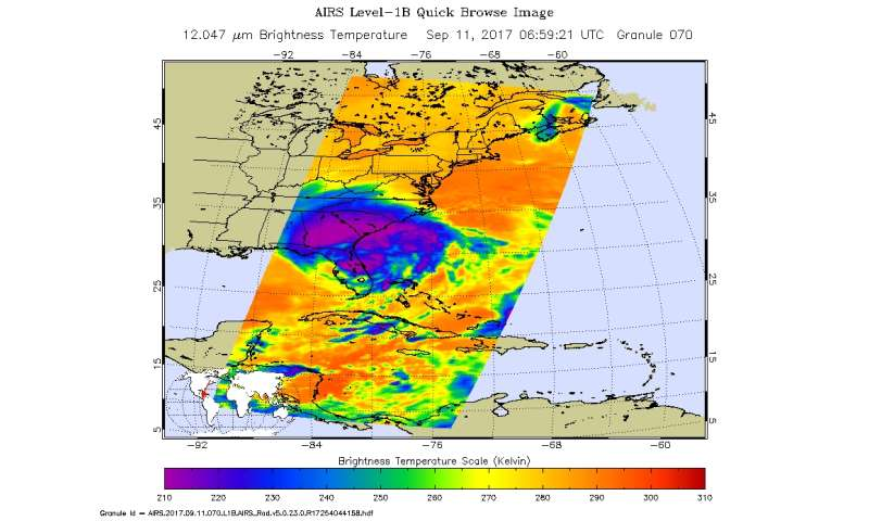 NASA gets nighttime and daytime look at a weaker wide Irma
