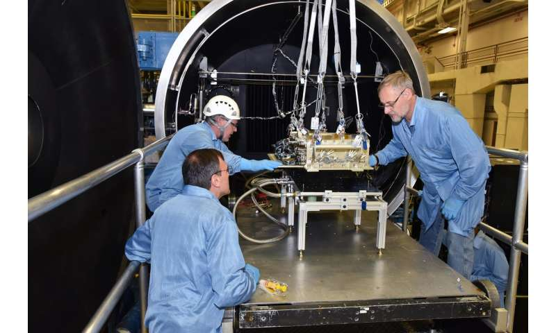 NASA laser communication payload undergoing integration and testing