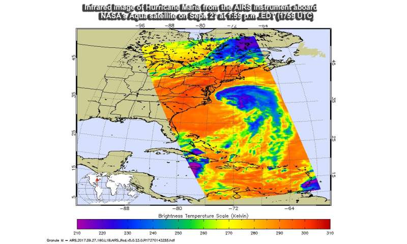 NASA sees Maria weaken to a Tropical Storm