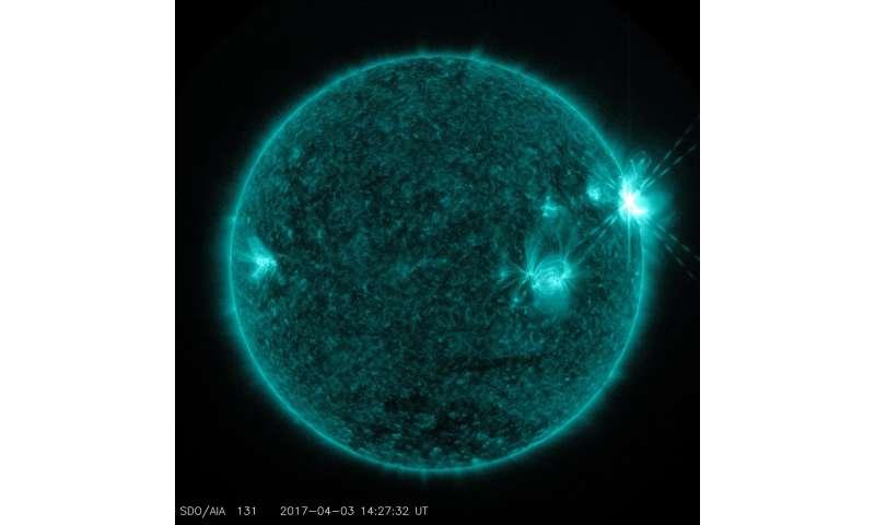 NASA's solar dynamics observatory captured trio of solar flares April 2-3