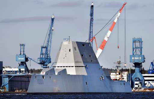 Navy's 2nd stealthy destroyer heads out to sea for 1st time