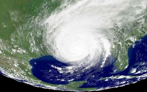 Satellite image of Hurricane Katrina bearing down on the US Gulf Coast on August 29 2005