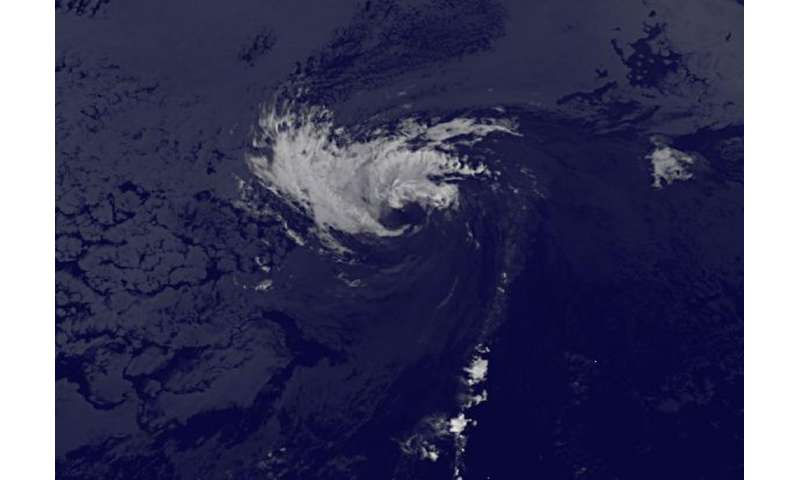 Tropical Storm Kevin battered by wind shear on satellite imagery