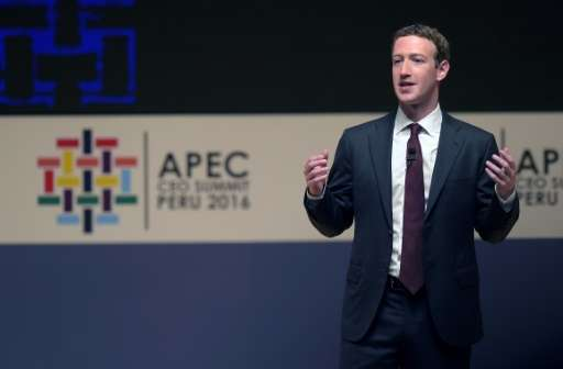 Facebook CEO Mark Zuckerberg, seen here at an Asia-Pacific Economic Cooperation (APEC) Summit in Lima in November 2016, says he