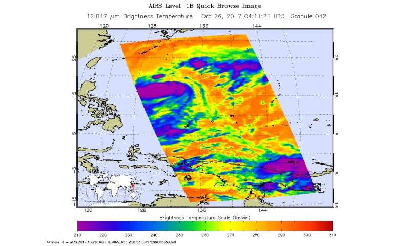 NASA finds winds shear still affecting Tropical Storm Saola