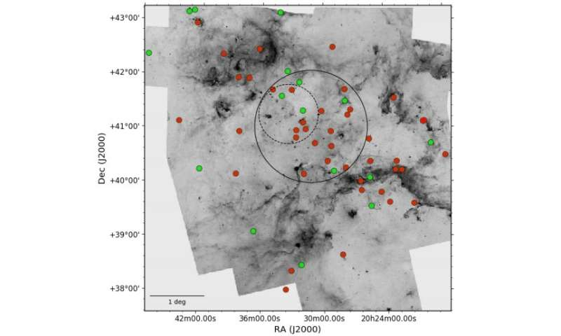 Astronomers identify dozens of new OB-type stars in the Cygnus OB2 stellar association