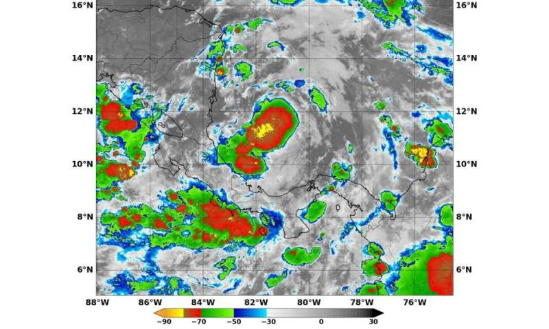 NASA sees Tropical Depression 16 develop in southwestern Caribbean Sea