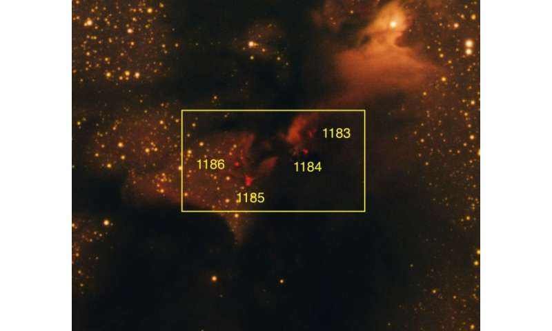 Astronomers identify twelve new Herbig-Haro objects in the dark nebula LDN 673