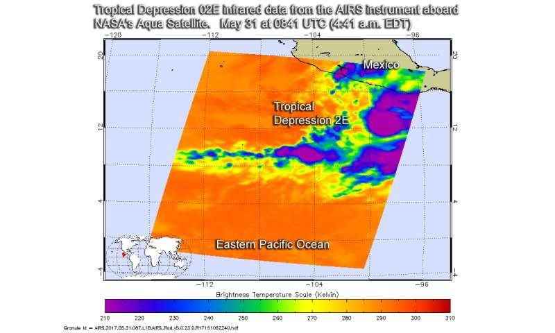 NASA sees formation of Tropical Depression Two-E in Eastern Pacific Ocean
