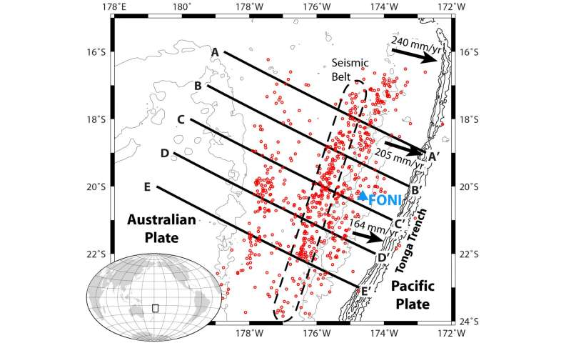 Release of water shakes Pacific Plate at depth