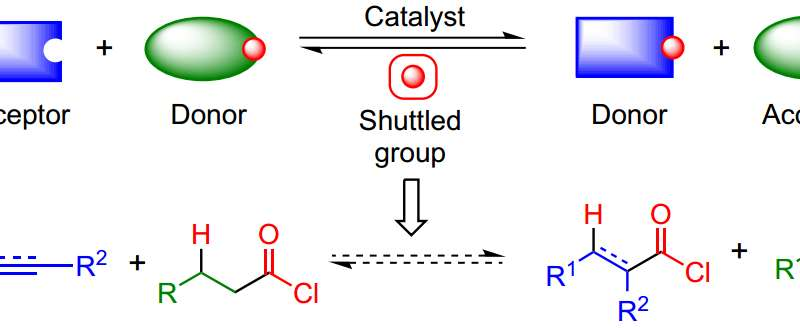 Making acid chloride precursors using shuttle catalysis