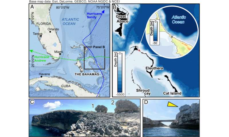 New theory to explain how giant boulders got atop cliff on Bahamian island