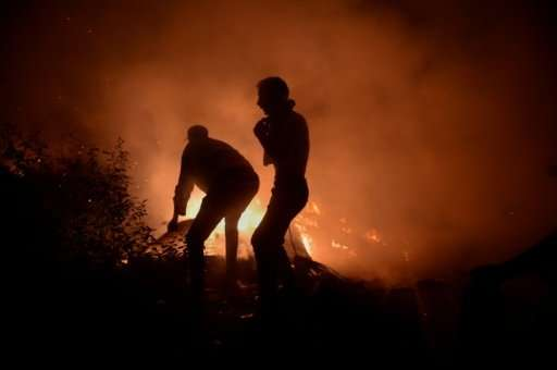 Firefighters and civilians tyring to subdue a blaze in Vigo, northwestern Spain, on Sunday