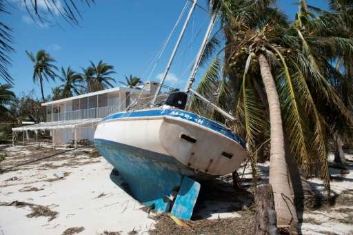 Hurricane Irma's fierce winds brought sailboats ashore in Islamorada, in the Florida Keys