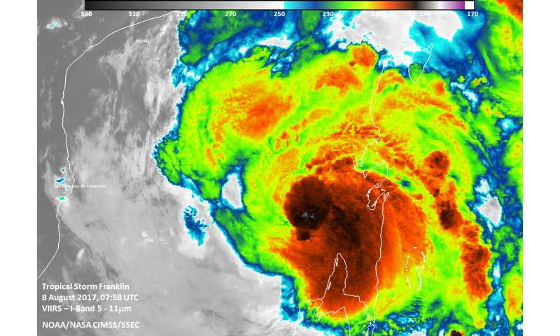 NASA-NOAA's Suomi NPP satellite takes a double look at Tropical Storm Franklin