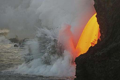 Massive lava stream exploding into ocean in Hawaii