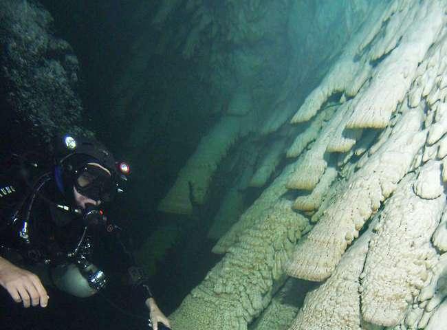 Researchers study unique underwater stalactites