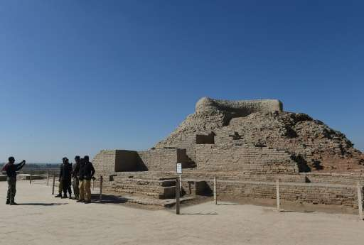 A Buddhist stupa at the UNESCO World Heritage archeological site of Mohenjo Daro in Pakistan, which experts believe was the cent