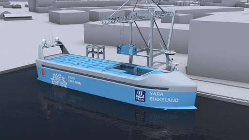 A computer simulation released by Yara International ASA shows the Yara Birkeland vessel