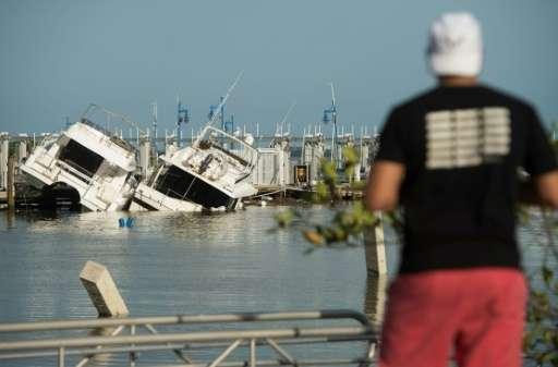 A man looks at damaged boats at a marina in Miami