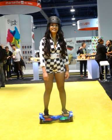 A model demonstrates a Swagtron hoverboard at the Consumer Electronics Show on January 7, 2017 in Las Vegas