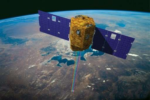 An artist impression by the French National Centre for Space Studies (CNES) shows the VENµS Earth observation satellite
