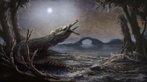 An artists rendering of a Lemmysuchus, a Jurassic-era sea-dwelling crocodile