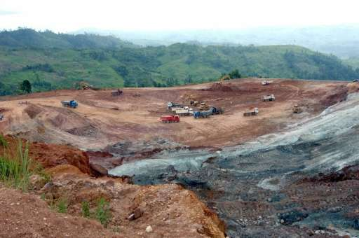 An open-pit gold-silver mine is seen in the southern Philippines in 2006