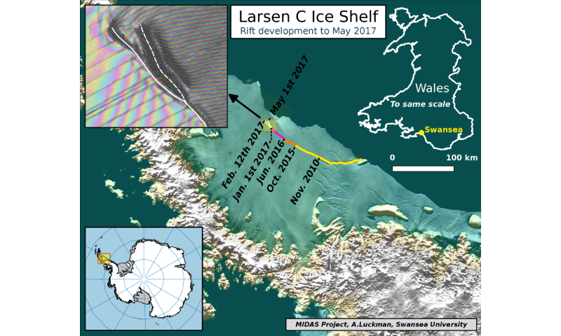 Antarctic ice rift spreads