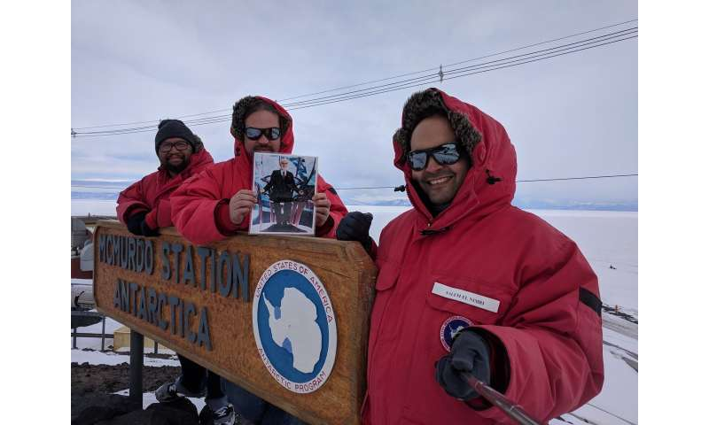 Antarctic selfie's journey to space via disruption tolerant networking