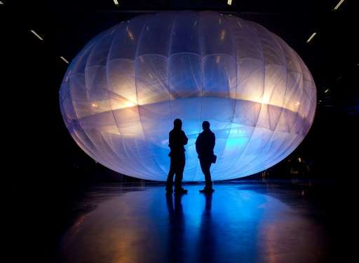 A Project Loon balloon for broadcasting WiFi from high altitudes is seen on display at the Airforce Museum in Christchurch, New