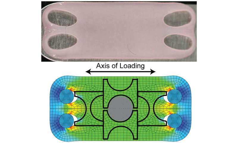 Artificial cartilage under tension as strong as natural material