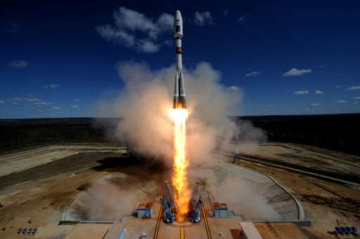 A Russian Soyuz 2-1A rocket—like the one seen in this file photo taken on April 28, 2016—launched 73 satellites into orbit on Fr