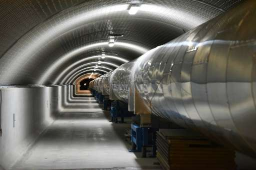 "A section of the Virgo detector in Italy, one of three ""interferometers"" that picked up a gravitational wave caused by"