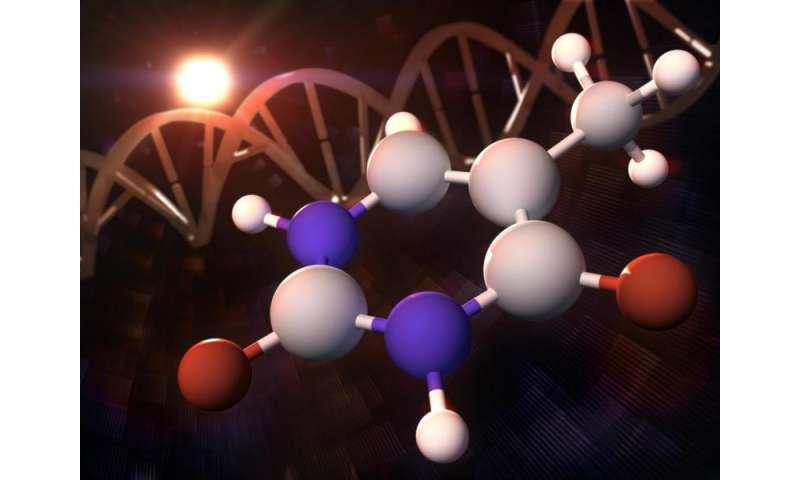 A single electron's tiny leap sets off 'molecular sunscreen' response