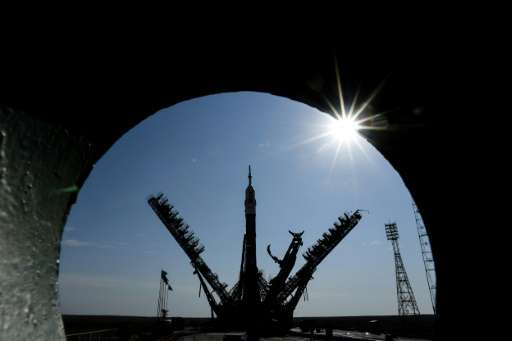 A Soyuz spacecraft is mounted on the launch pad at the Russian-leased Baikonur cosmodrome in Kazakhstan on September 10, 2017