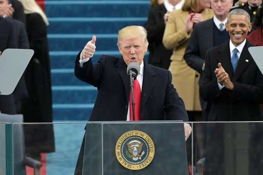 A statement on the White House website, posted shortly after Donald Trump took the presidential oath of office January 20, 2017,