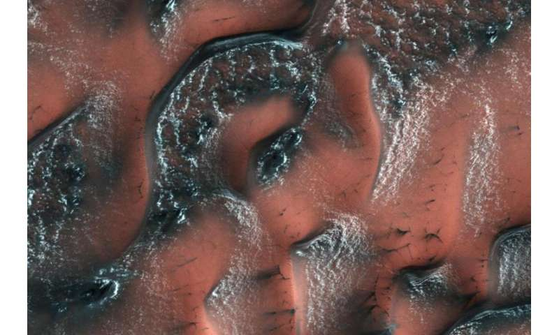 A world of snowy dunes on Mars
