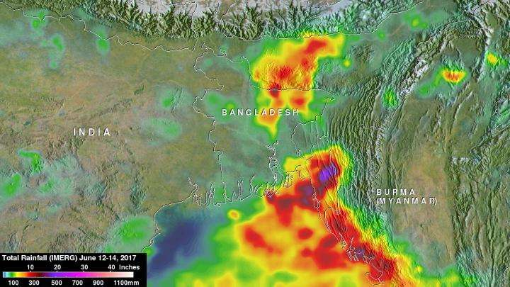 Heavy Rainfall Examined With NASAs IMERG - Where is bangladesh located