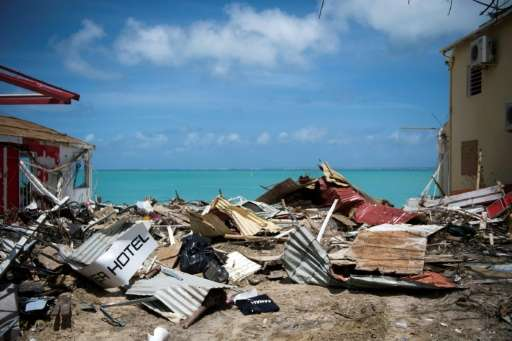 Buildings collapsed in Grand-Case in Saint Martin after it was hit by Hurricane Irma