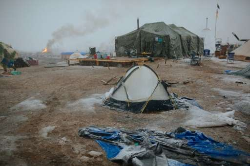 Campers prepare for the Army Corp's deadline to leave the Oceti Sakowin protest camp on February 22, 2017 in Cannon Ball, North