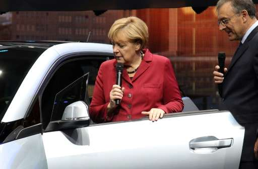 Chancellor Angela Merkel is a major promoter of Germany's car industry and a staple of the Frankfurt auto show.