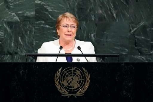 Chile's President Michelle Bachelet, pictured addressing the 72nd UN General Assembly in September 2017, signed a bill aiming to