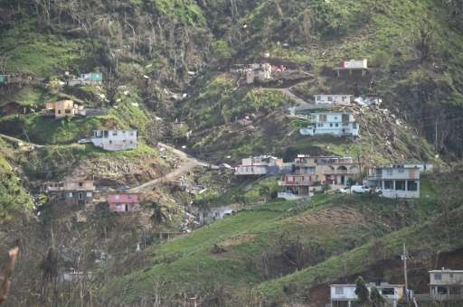 Damaged homes and vegetation during the passage of Hurricane Maria are viewed on a mountain in Naranjito, southwest of San Juan,